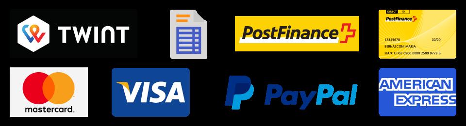 Paiements par Twint, Postfinance, Sur Facture, Cartes de crédit, Paypal